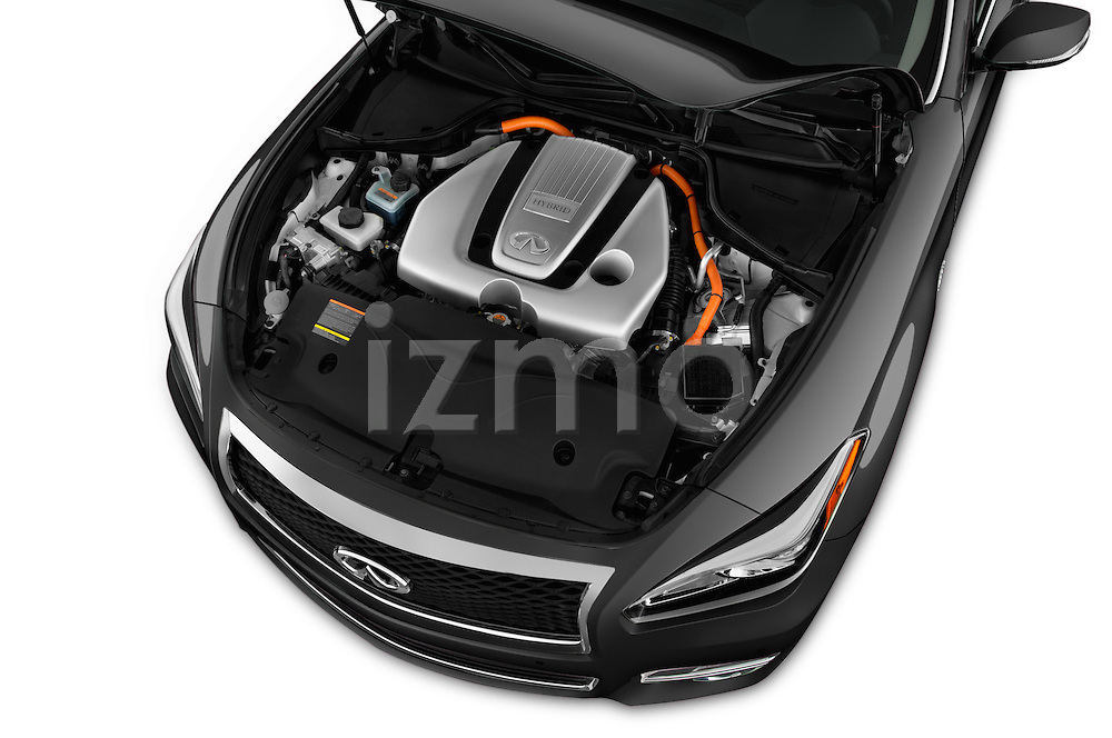 Car Stock 2018 Infiniti Q70 Hybrid 4 Door Sedan Engine  high angle detail view