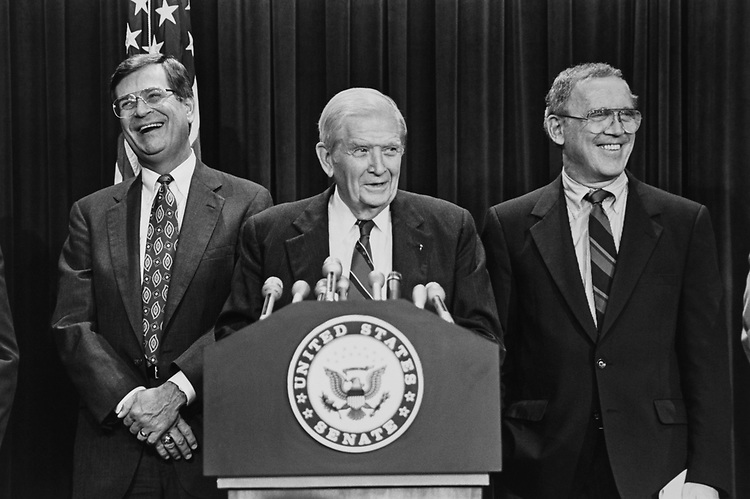 Sen. Trent Lott, R-Miss., Sen. Terry Sanford, D-N.C., and Sen. Warren Rudman, R-N.H., ethics press conference at Hatfield in August 1992. (Photo by Laura Patterson/CQ Roll Call via Getty Images)