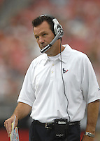 Aug 18, 2007; Glendale, AZ, USA; Houston Texans head coach Gary Kubiak on the sidelines during the game against the Arizona Cardinals at University of Phoenix Stadium. Mandatory Credit: Mark J. Rebilas-US PRESSWIRE Copyright © 2007 Mark J. Rebilas