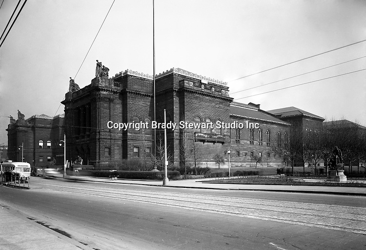 Pittsburgh PA:  The Carnegie Library and Institute is located in the Oakland section of Pittsburgh - 1947.  Andrew Carnegie dedicated the main library, above, in 1895.  The main Library receives over 2.6 million visitors a year.