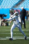 Ben Brown (97) of the Wake Forest Demon Deacons warms-up prior to the Belk Bowl against the Texas A&M Aggies at Bank of America Stadium on December 29, 2017 in Charlotte, North Carolina.  The Demon Deacons defeated the Aggies 55-52.  (Brian Westerholt/Sports On Film)