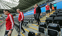 Swansea manager Garry Monk (4th L) walks down the steps prior to the Barclays Premier League match between Swansea City and Arsenal at the Liberty Stadium, Swansea on October 31st 2015