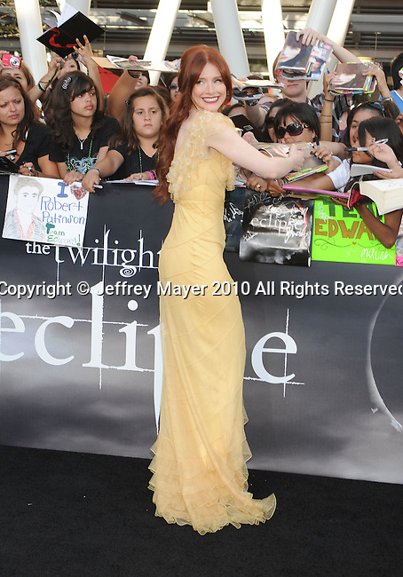 "LOS ANGELES, CA. - June 24: Bryce Dallas Howard arrives to the premiere of ""The Twilight Saga: Eclipse"" during the 2010 Los Angeles Film Festival at Nokia Theatre L.A. Live on June 24, 2010 in Los Angeles, California."