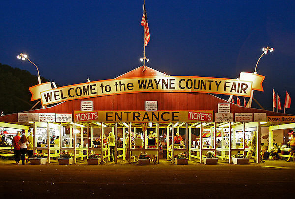 Wayne County Fair in Pennsylvania entrance at night