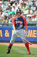 Portland Sea Dogs infielder Garin Cecchini (18) during game against the Trenton Thunder at ARM & HAMMER Park on June 23, 2013 in Trenton, NJ.  Portland defeated Trenton 11-0.  (Tomasso DeRosa/Four Seam Images)