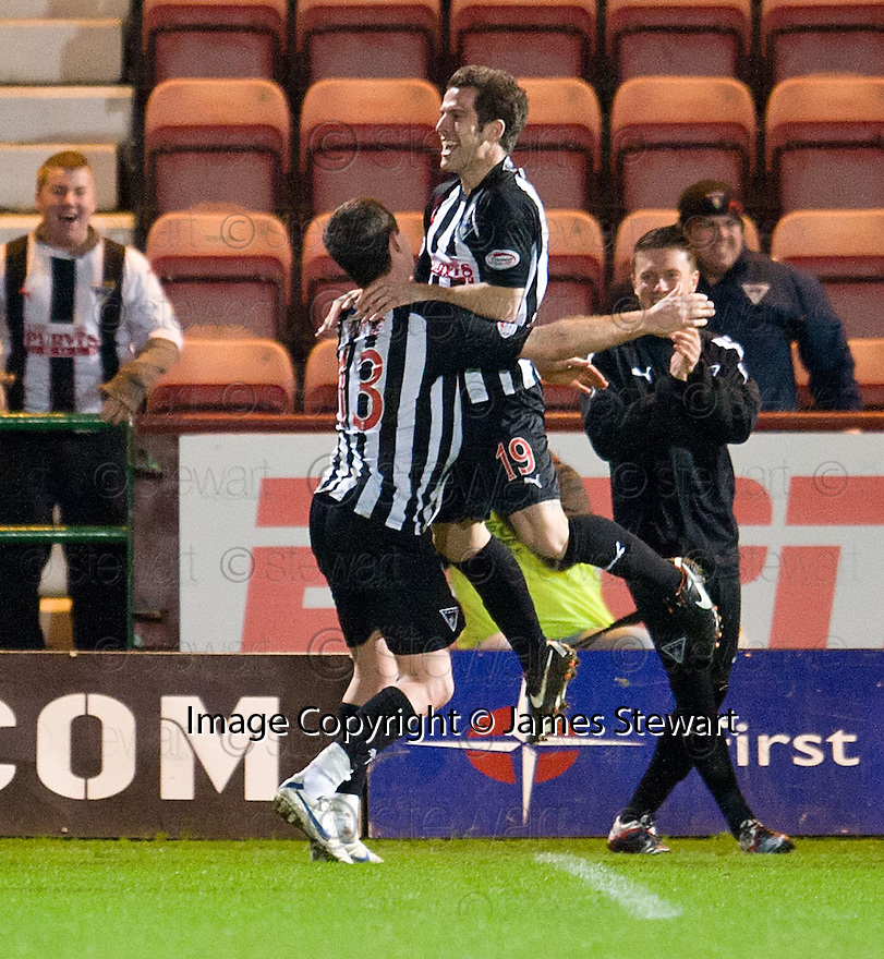 PARS LIAM BUCHANAN (19) CELEBRATES AFTER HE SCORES DUNFERMLINE'S THIRD GOAL