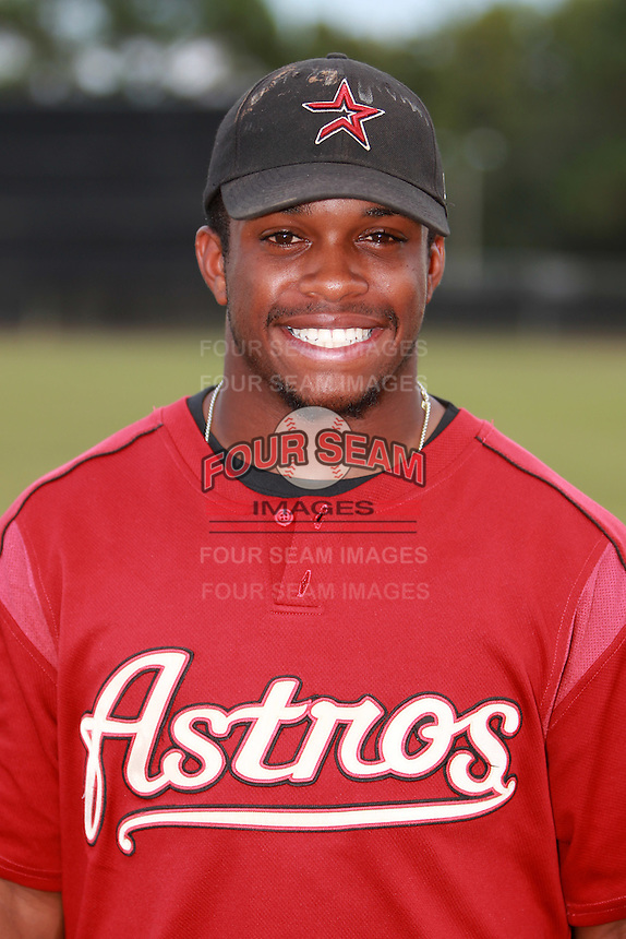 Houston Astros minor league outfielder Delino DeShields (4) vs. the Atlanta Braves during an Instructional League game at Osceola County Stadium in Kissimmee, Florida;  October 14, 2010.  DeShields was selected in the 1st round, 8th overall, out of Woodward Academy in College Park, GA.  Photo By Mike Janes/Four Seam Images