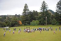 Theview from the stand of the Wanganui club rugby match between Utiku and Border at Taihape Domain, Taihape, New Zealand on Saturday 28 April 2012. Photo: Dave Lintott / lintottphoto.co.nz