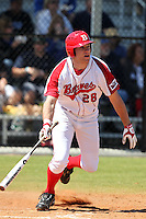 Bradley Braves outfielder Bob Schuch #28 during a game vs the Air Force at Chain of Lakes Park in Winter Haven, Florida;  March 12, 2011.  Bradley defeated Air Force 6-0.  Photo By Mike Janes/Four Seam Images