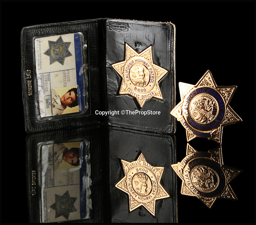 BNPS.co.uk (01202 558833)<br /> Pic: ThePropStore/BNPS<br /> <br /> Erik Estrada's Frank Poncherello badge and ID from CHiPs.<br /> <br /> Stop! Police! - Hollywoods finest...and funniest id badges come up for auction.<br /> <br /> The world's largest ever collection of IDs belonging to a who's who of film and TV stars is set to be auctioned. <br /> <br /> Credentials used by Hollywood royalty including Jodie Foster, Bruce Willis, Leonardo DiCaprio, Jeremy Irons, Eddie Murphy and Kiefer Sutherland are all about to go under the hammer. <br /> <br /> The lots are being sold on behalf of an anonymous collector who amassed the collection over a period of 15 years. <br /> <br /> They will be auctioned by the Prop Store in London on Tuesday, September 27.