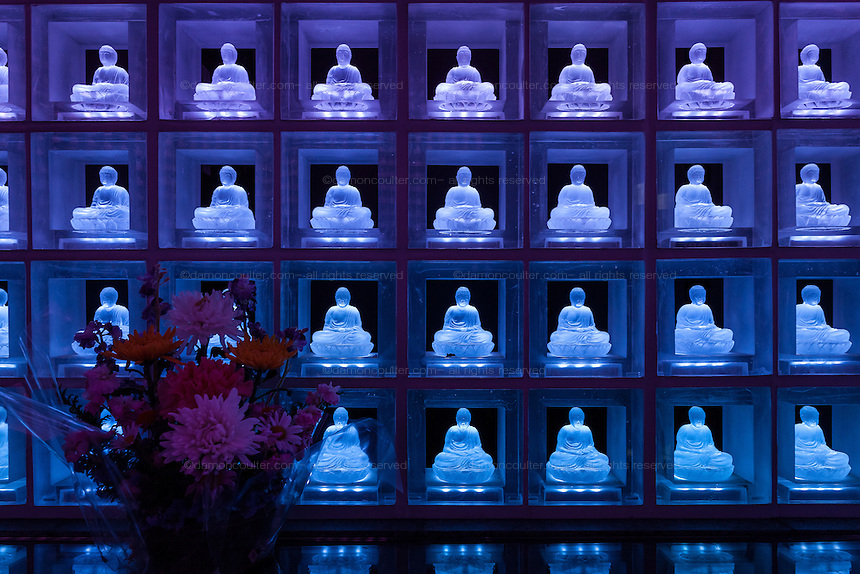 The Ruriden memorial hall at Koukoko-ji temple Ichigaya which houses over 2,000 crystal Buddhas lit with LED lights. Tokyo, Japan. Friday November 28th 2014