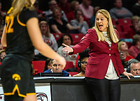 COLLEGE PARK, MD - FEBRUARY 13: Brenda Frese head coach of Maryland reacts to a play during a game between Iowa and Maryland at Xfinity Center on February 13, 2020 in College Park, Maryland.
