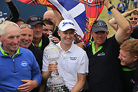 Russell Knox (SCO) wins the tournament on the playoff 18th green at the end of Sunday's Final Round of the 2018 Dubai Duty Free Irish Open, held at Ballyliffin Golf Club, Ireland. 8th July 2018.<br /> Picture: Eoin Clarke   Golffile<br /> <br /> <br /> All photos usage must carry mandatory copyright credit (&copy; Golffile   Eoin Clarke)