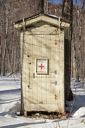 First Aid Cache in Crawford Notch State Park during the winter months in the White Mountains, New Hampshire.