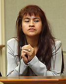 Maria Dancy, of Tacoma, Washington, testifies during the trial of sniper suspect John Allen Muhammad, in Virginia Beach Circuit Court in Virginia Beach, Virginia on November 9, 2003. <br /> Credit: Tracy Woodward - Pool via CNP