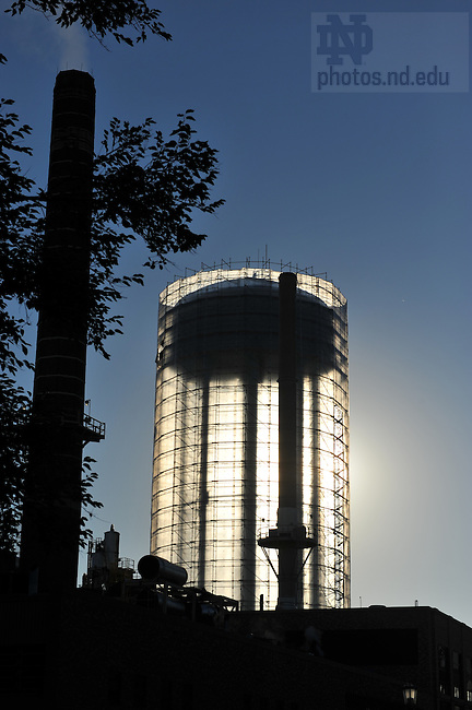 ND water tower surrounded in plastic sheeting and scaffolding for maintenance work, summer 2008