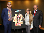 "Austin Shaw, Bonnie Comley and Stewart F. Lane attends the BroadwayHD's ""42nd Street"" Screening at the AMC Empire 25 Theatres on April 16, 2019 in New York City."