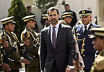 Spanish Prince Felipe during the welcome ceremony as they arrive to the West Bank town of Ramallah, 12 April 2011. Prince Felipe and his wife Princess Letizia are in official visit to the Palestinian territories. Photo by STR