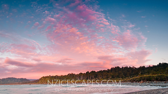 Sunset over Gillespies Beach, Westland National Park, West Coast, New Zealand