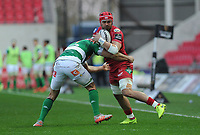 Scarlets' Josh Macleod is tackled by Benetton Treviso's Angelo Esposito<br /> <br /> Photographer Ashley Crowden/CameraSport<br /> <br /> Guinness PRO12 Round 19 - Scarlets v Benetton Treviso - Saturday 8th April 2017 - Parc y Scarlets - Llanelli, Wales<br /> <br /> World Copyright &copy; 2017 CameraSport. All rights reserved. 43 Linden Ave. Countesthorpe. Leicester. England. LE8 5PG - Tel: +44 (0) 116 277 4147 - admin@camerasport.com - www.camerasport.com