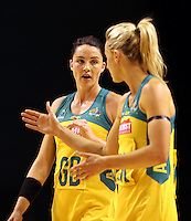 20.10.2015 Australia's Laura Geitz and Sharni Layton in action during the Silver Ferns v Australian Diamonds netball test match played ay Horncastle Arena in Christchruch. Mandatory Photo Credit ©Michael Bradley.