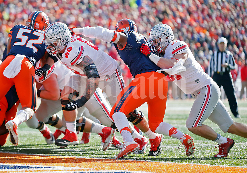 Ohio State Buckeyes offensive lineman Taylor Decker (68) and Ohio State Buckeyes tight end Nick Vannett (81) against Illinois Fighting Illini at Memorial Stadium in Champaign, IL on November 14, 2015.  (Dispatch photo by Kyle Robertson)