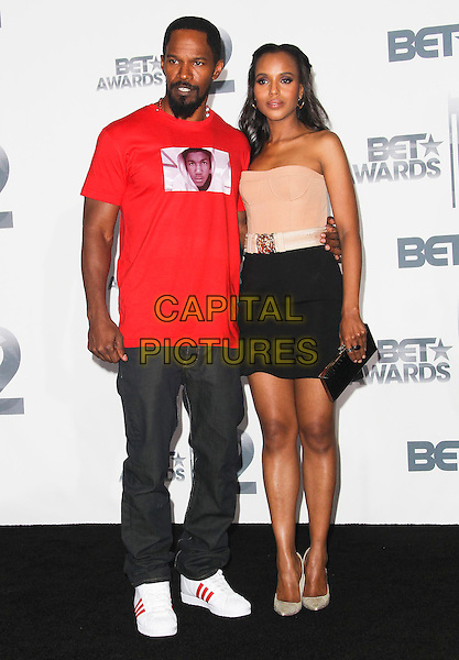 Jamie Foxx and Kerry Washington.2012 BET Awards held at The Shrine Auditorium, Los Angeles, CA., USA..July 1st, 2012.full length red t-shirt beard facial hair skirt beige strapless corset top clutch bag.CAP/ADM/SLP/PS.©PS/SLP/AdMedia/Capital Pictures.