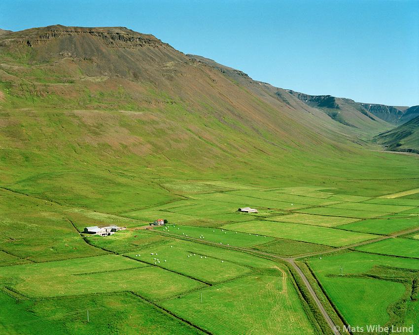 Dyrfinnustaðir og Brekkukot séð til suðausturs, Akrahreppur /  Dyrfinnustadir and Brekkukot viewing southeast, Akrahreppur.