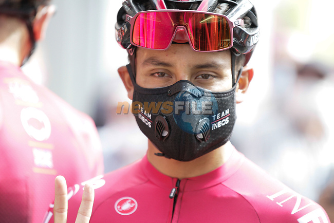 Egan Bernal (COL) Team Ineos at sign on before Stage 3 of the Route d'Occitanie 2020, running 163.5km from Saint-Gaudens to Col de Beyrède, France. 3rd August 2020. <br /> Picture: Colin Flockton | Cyclefile<br /> <br /> All photos usage must carry mandatory copyright credit (© Cyclefile | Colin Flockton)