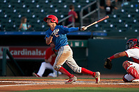 Clearwater Threshers Dalton Guthrie (46) bats during a Florida State League game against the Palm Beach Cardinals on August 9, 2019 at Roger Dean Chevrolet Stadium in Jupiter, Florida.  Palm Beach defeated Clearwater 3-0 in the second game of a doubleheader.  (Mike Janes/Four Seam Images)
