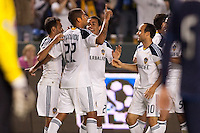LA Galaxy defender Leonardo (22) begins to celebrate after his goal scoring headball. The LA Galaxy defeated the Philadelphia Union 1-0 at Home Depot Center stadium in Carson, California on  April  2, 2011....
