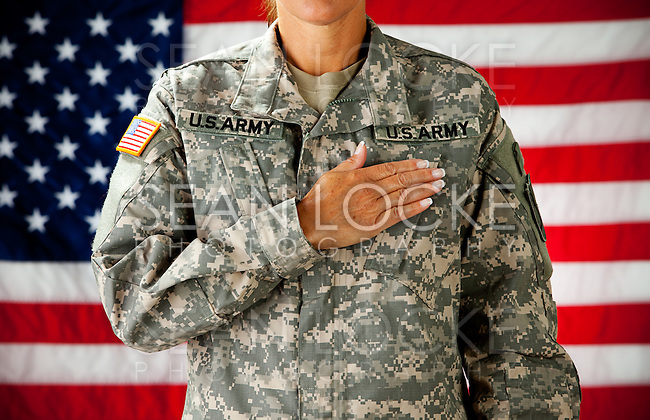Series with a female as a solidier in an United States Army uniform.  Numerous props convey a variety of concepts.