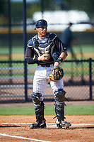 GCL Yankees East catcher Brayan Rodriguez (29) during a game against the GCL Yankees West on August 3, 2016 at the Yankees Complex in Tampa, Florida.  GCL Yankees East defeated GCL Yankees West 12-2.  (Mike Janes/Four Seam Images)