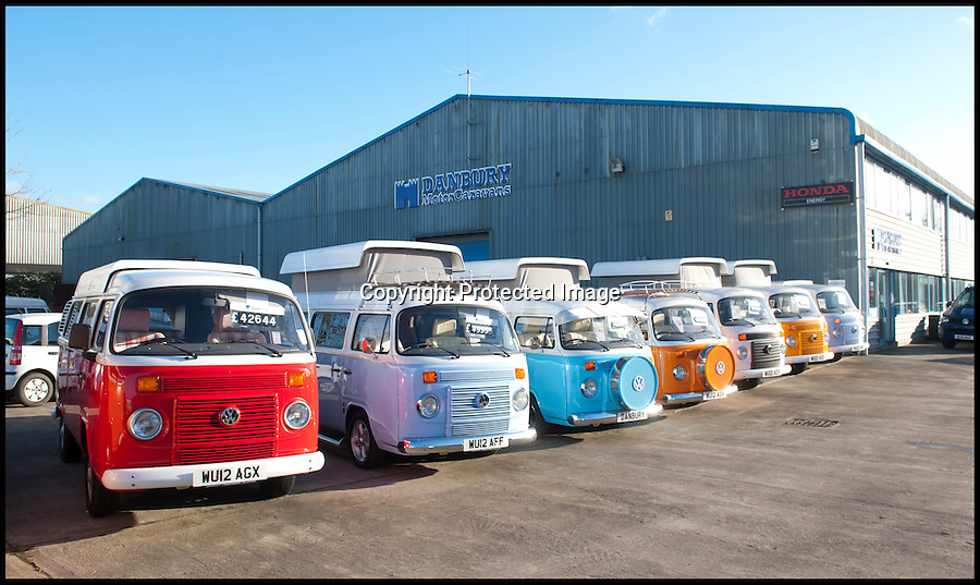 BNPS.co.uk (01202 558833)<br /> Pic: LauraJones/BNPS<br /> <br /> Some of the campervans from an earlier batch outside Danbury MotorCaravans in Yate, Bristol.<br /> <br /> The last ever delivery of brand new Volkswagen campervans has arrived in Britain marking the end of an era for the iconic 'hippy bus'.<br /> <br /> Ninety nine of the final batch of vans rolled off the production line and onto a container ship bound for British shores after manufacture ceased for good in Brazil in December.<br /> <br /> And though the consignment has only just arrived, almost all of the vans have already been snapped up by eager buyers happy to fork out the &pound;35,000 starting price.<br /> <br /> They are the last brand new campers in all of Europe.