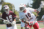 Orange, CA 05/01/10 - Justin Shields (Chapman # 10) and Cyrus Pura (LMU # 15) in action during the LMU-Chapman MCLA SLC semi-final game in Wilson Field at Chapman University.  Chapman advanced to the final by defeating LMU 19-10.