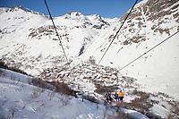 Ski lift above the village of Bonneval sur Arc, Savoie, France, 17 February 2012.