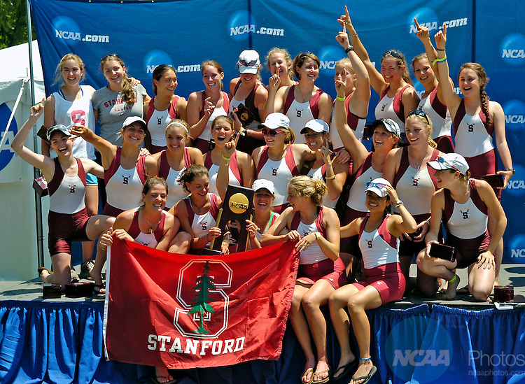 31 MAY 2009:  The Stanford University Rowing team celebrates on the medal stand after winning team championship during the NCAA Division I Rowing Championships held at the Cooper River in Camden, New Jersey. Stanford finished with 88 points to take hom eht team title.  Eric Hartline/NCAA Photos