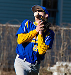 SEYMOUR,  CT-041019JS11-  Seymour's Devin Mastrio (22) miss-plays a pop-up by Naugatuck's Tristan Crelan (22) during their game Wednesday at French Memorial Park in Seymour. The error allowed a run to score. <br /> Jim Shannon Republican American