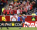 14 April 2007: New England's Taylor Twellman celebrates his 12th minute goal as visiting Toronto fans watch, subdued. The New England Revolution defeated Toronto FC 4-0 at Gillette Stadium in Foxboro, Massachusetts in an MLS Regular Season game.