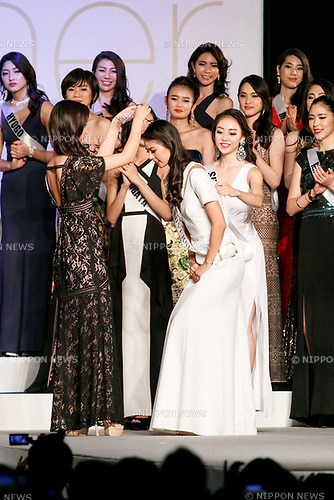 Miss Universe Japan 2017 winner Momoko Abe (R) receives a crown from Miss Universe Japan 2016 Sari Nakazawa (L) during the Miss Universe Japan competition at Hotel Chinzanso Tokyo on July 4, 2017, Tokyo, Japan. Momoko Abe from Chiba who won the title will represent Japan in the next Miss Universe competition. (Photo by Rodrigo Reyes Marin/AFLO)