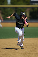 Johnny Aiello (2) of the Wake Forest Demon Deacons hustles towards third base against the Florida State Seminoles at David F. Couch Ballpark on April 16, 2016 in Winston-Salem, North Carolina.  The Seminoles defeated the Demon Deacons 13-8.  (Brian Westerholt/Four Seam Images)
