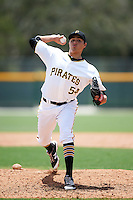 GCL Pirates relief pitcher Eduardo Vera (54) during a game against the GCL Yankees East on August 15, 2016 at the Pirate City in Bradenton, Florida.  GCL Pirates defeated GCL Yankees East 5-2.  (Mike Janes/Four Seam Images)