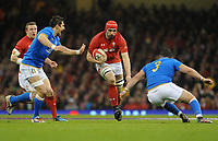 Wales Cory Hill looks for a way through<br /> <br /> Photographer Ian Cook/CameraSport<br /> <br /> 2018 NatWest Six Nations Championship - Wales v Italy - Sunday 11th March 2018 - Principality Stadium - Cardiff<br /> <br /> World Copyright &copy; 2018 CameraSport. All rights reserved. 43 Linden Ave. Countesthorpe. Leicester. England. LE8 5PG - Tel: +44 (0) 116 277 4147 - admin@camerasport.com - www.camerasport.com