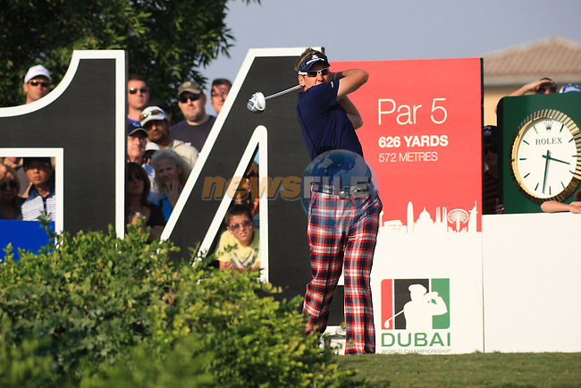 Ian Poulter teeing off on the 14th during the third round of the Dubai World Championship on the Earth Course at the Jumeirah Golf Estate, Dubai..Picture Fran Caffrey/www.golffile.ie.