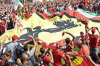 09.09.2012. Monza, Italy.  Race fans celebrate the 3rd position of Spanish Formula One driver Fernando Alonso of Ferrari at the 2012 Italian Formula One Grand Prix at the race track Autodromo Nazionale Monza, Italy