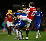 Eden Hazard of Chelsea tackled by Daley Blind and Cameron Northwick-Jackson of Manchester Utd - English Premier League - Manchester Utd vs Chelsea - Old Trafford Stadium - Manchester - England - 28th December 2015 - Picture Simon Bellis/Sportimage
