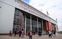 The statue of Ted Bates MBE outside St Mary's Stadum during the Premier League match between Southampton and Swansea City at the St Mary's Stadium, Southampton, England, UK. Saturday 12 August 2017