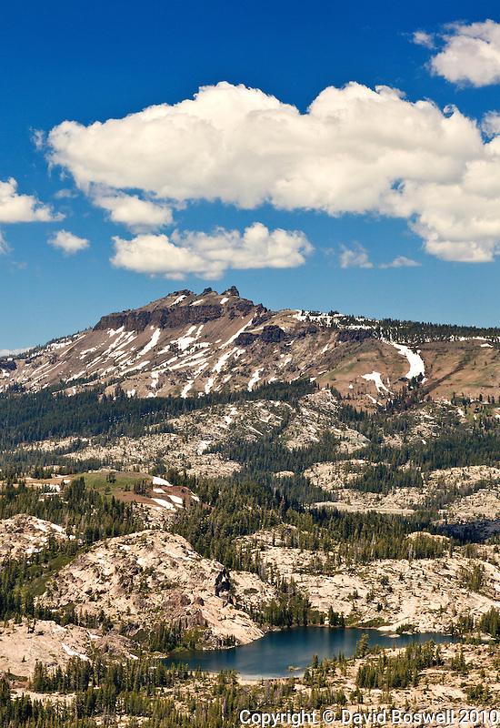 Castle Peak, seen from the Mount Judah loop tral in Donner Pass near Truckee, California.