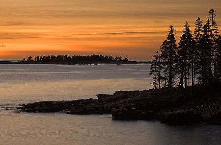 Sunrise in Schoodic Harbor off the Schoodic Peninsula in Acadia National Park, Maine
