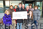 Kieran Doherty pictured presenting EUR2,120, the proceeds of the Tom O'Sullivan memorial quiz in aid of Killorglin Hospice to Kay Woods , in Killorglin on Thursday morning. Also pictured are Hannah O'Sullivan, Nora O'Sullivan, Neil Doherty, Patrick O'Sullivan, Ann Doherty, Tom Sables and Sinead O'Sullivan.
